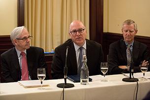 Panelists Gerald Rosenfeld, Jonathan Mintz and Dr. Michael Staten