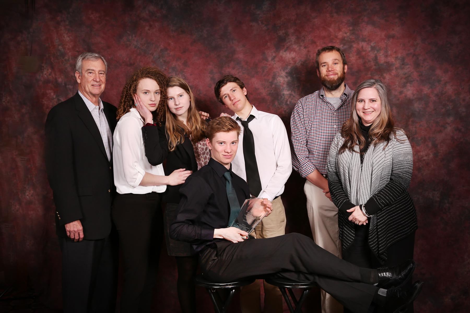 Bozeman High School -  Front Row (L-R)  Ben Holmgren Back Row (L-R)  Steve Turckiewicz (MBA), Camille Landon, Taylor Jones, Wes Robbins, Dave Budt (Teacher), Rhonda Krieger (FRB)