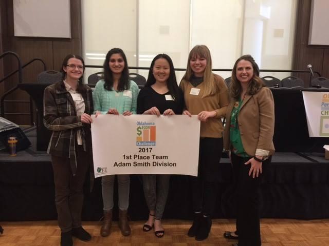 Edmond Memorial High School - (L-R) Carson Schlittler, Meleeha Khan, Karena Zhao, Sarah Green, Amy Lee (State Council Executive Director)