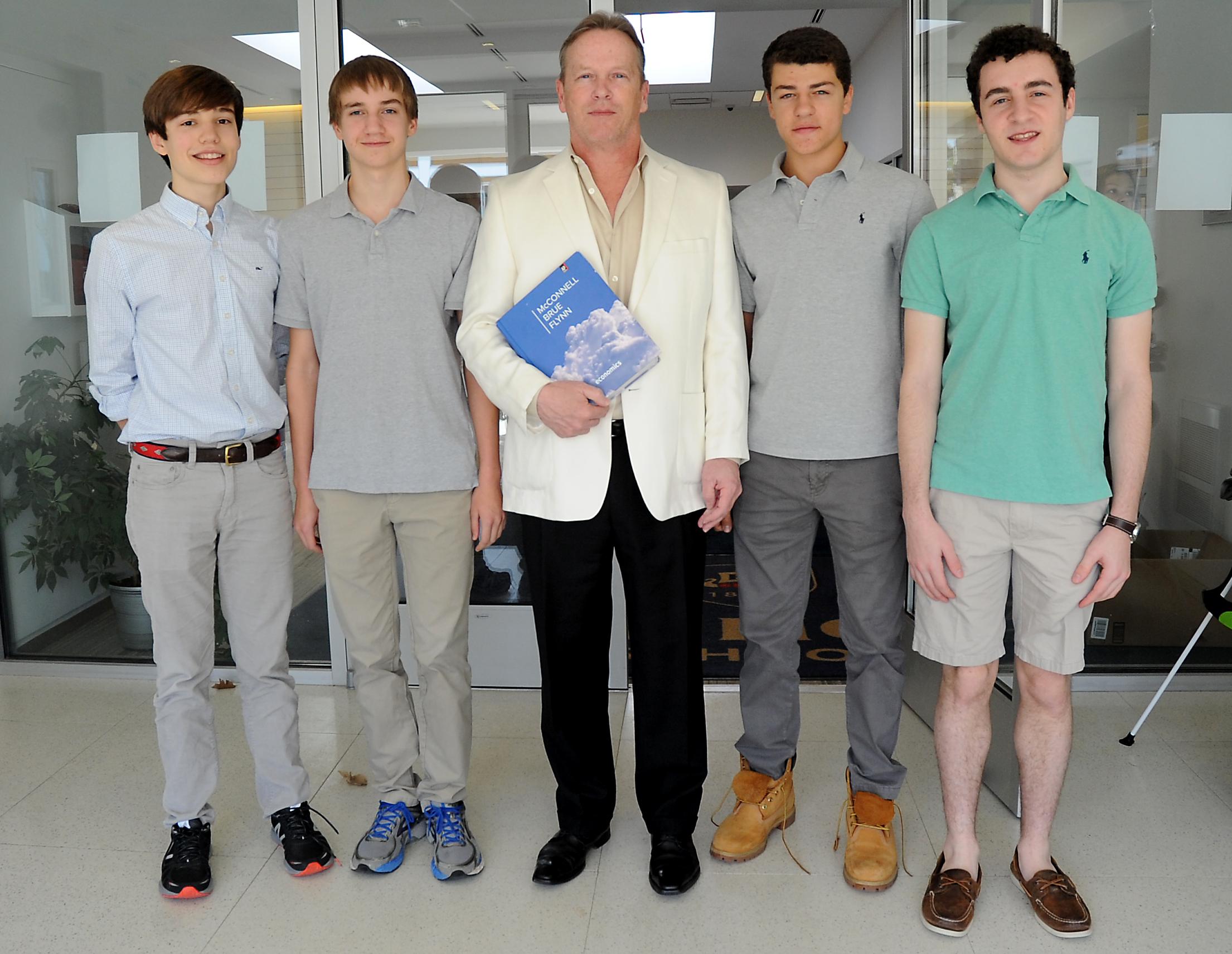 King School From L to R Alex Knorr, Ari Maki, Frank Roche (Advisor), Michael Carnavalla, Max Helman