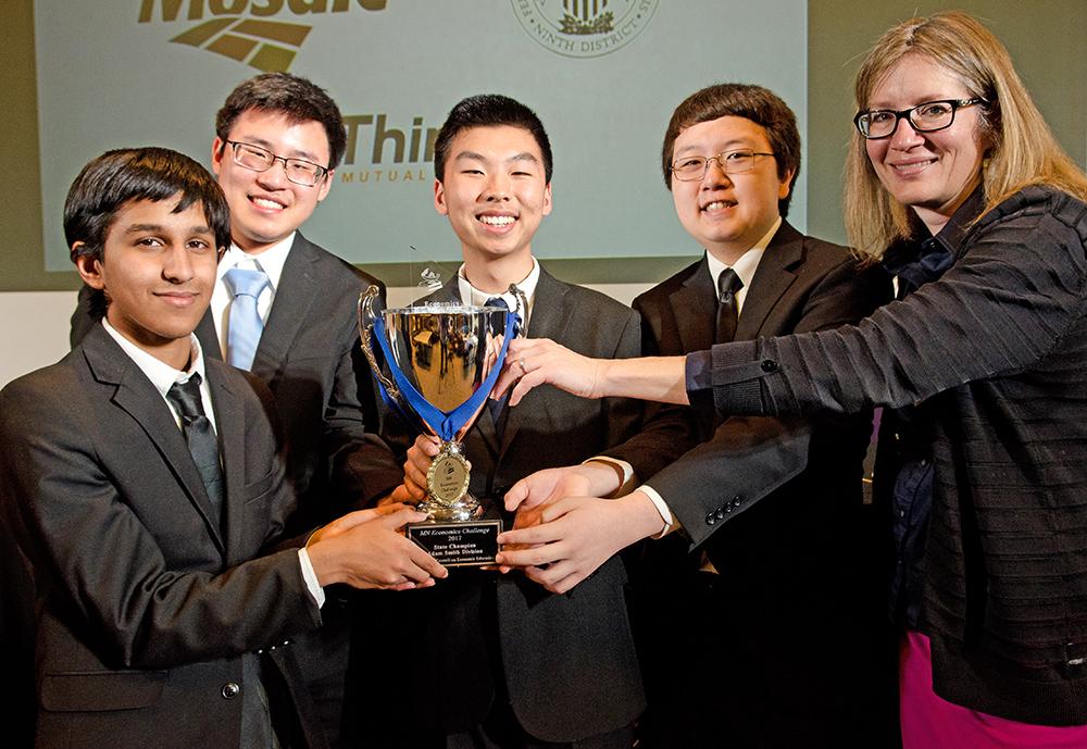 Mounds View High School - Abhishek Vijayakumar, David Zheng, Benjamin Chen, Michael Pak, Martha Rush (coach)