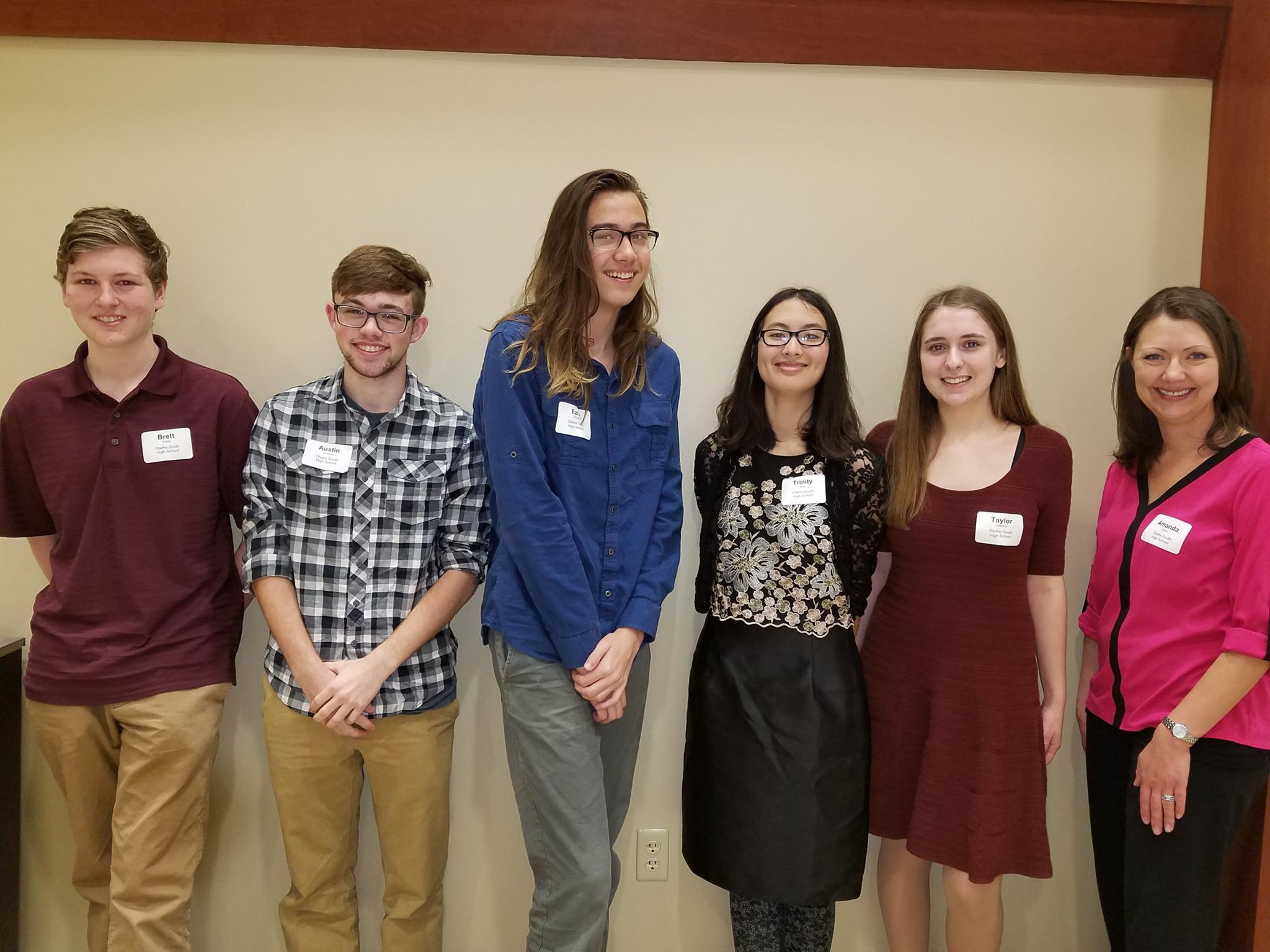 Olathe South High School Brett Schilly, Austin(James)Schober, Ezra Stanley, Trinity Wong, Taylor Hawkins, TEACHER - Amanda Doane