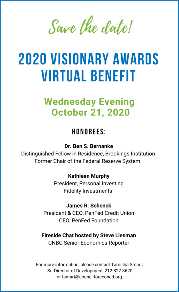 Save the Date - 2020 Visionary Awards Virtual Benefit